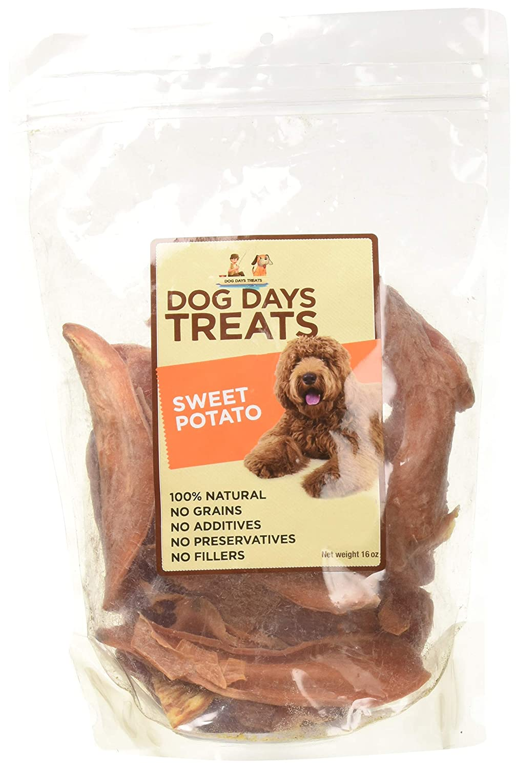 Dog Days Treats 100% All Natural Sweet Potato Made from North Carolina, 16 oz.