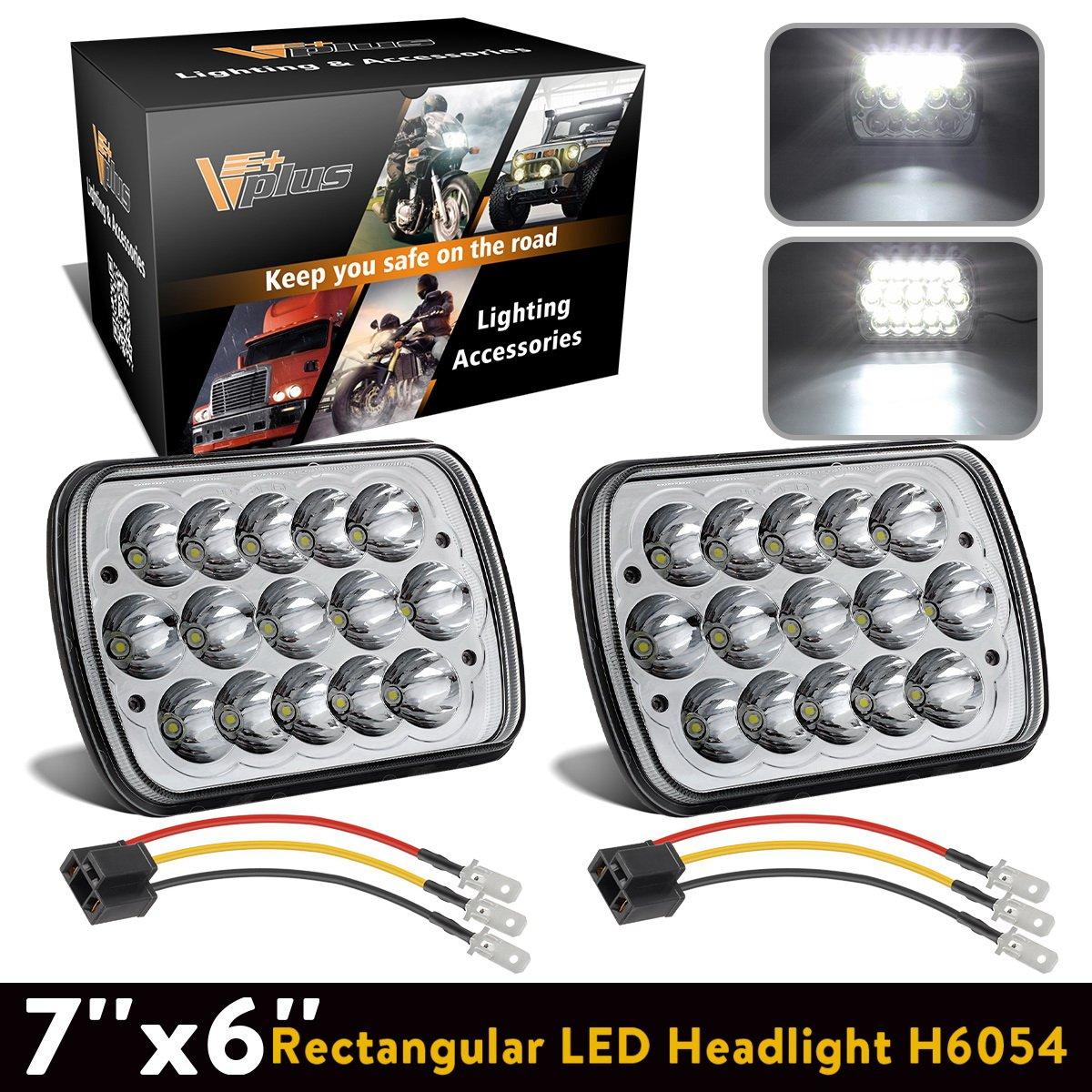 Partsam Sealed Beam Hi Low Cree 7x6 Headlights 6054 Led 77 Silverado Headlight Wiring Harness 5x7 H6054 W H4