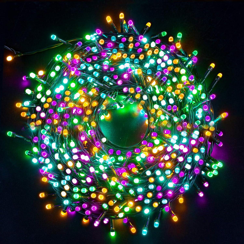 Luces Navidad Exterior, Ulinek 20M 200LED Guirnaldas Luces Navidad 4 Colores Cadena Luces con 8 Modos IP44 Impermeable Luces LED Decorativas para Arbol Navidad Interior Habitacion Jardin Fiesta Bodas