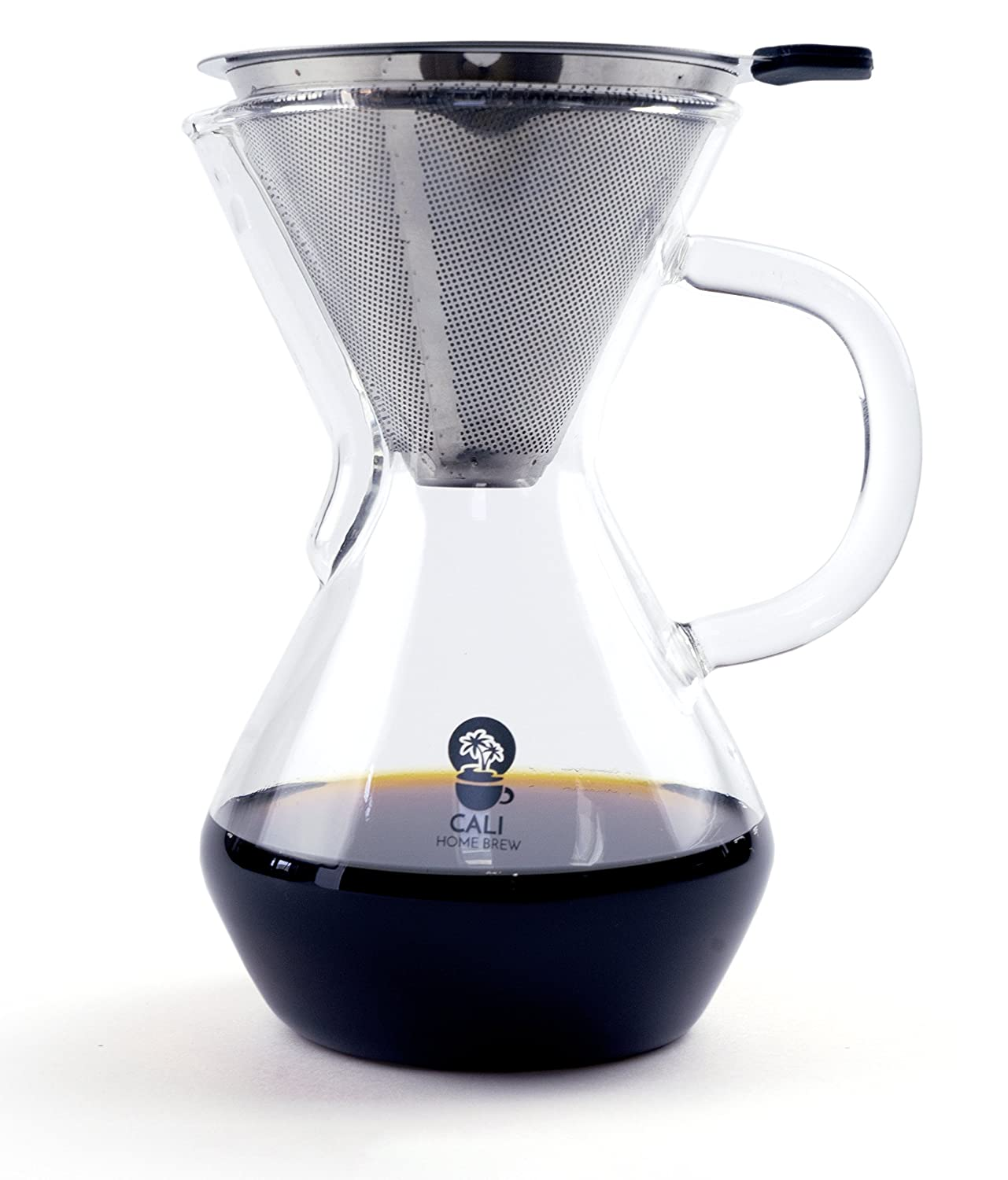 Cali Home Brew Pour Over Coffee Maker | 3 Cup/17oz Brewer | BPA Free Borosilicate Glass Carafe | Dual Layer Reusable Stainless Steel Filter | Eco Friendly | Easy to Clean Coffee Dripper | Free Ebook POC-500-01