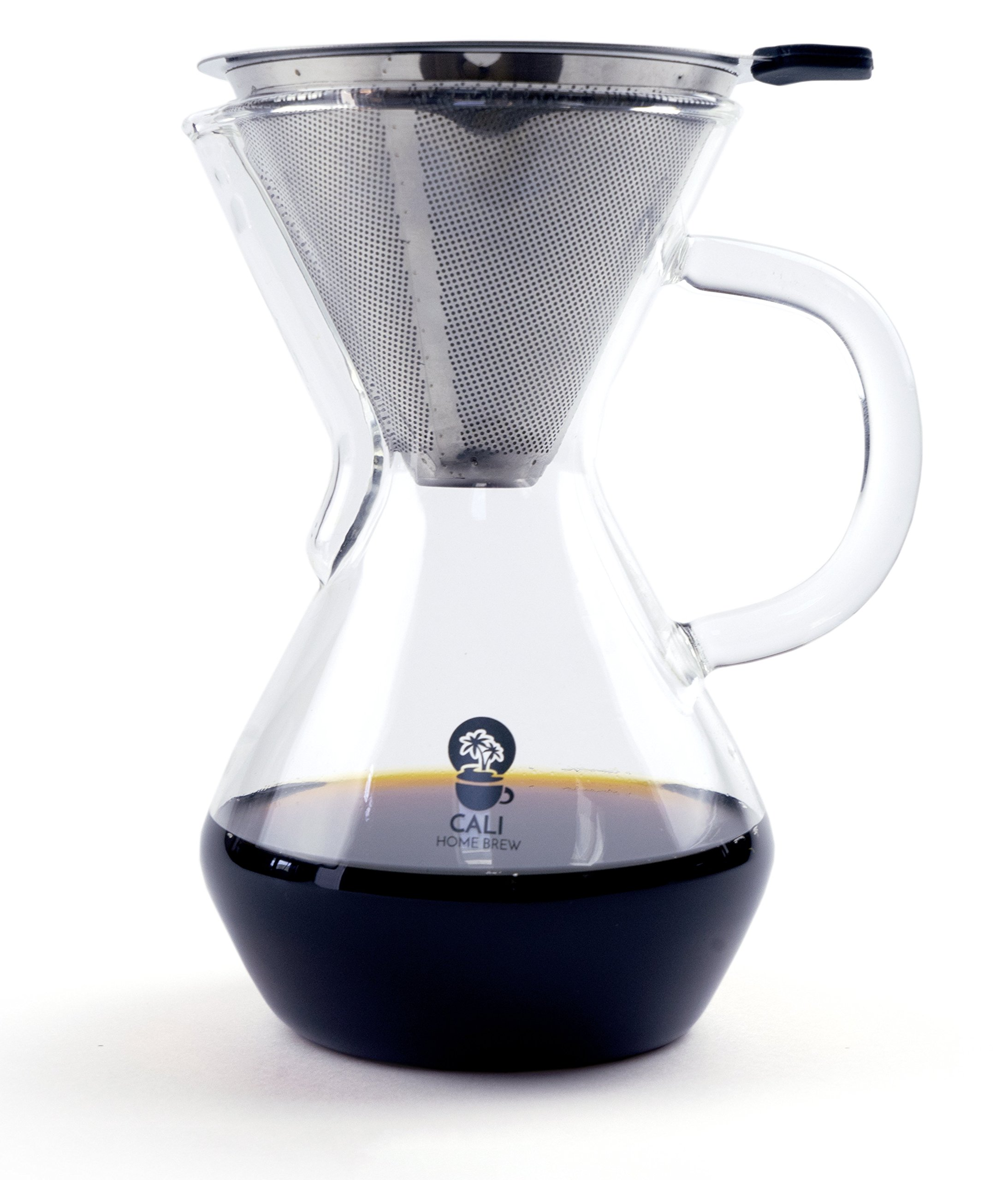 Cali Home Brew Pour Over Coffee Maker | 3 Cup/17oz Brewer | BPA Free Borosilicate Glass Carafe | Dual Layer Reusable Stainless Steel Filter | Eco Friendly | Easy to Clean Coffee Dripper | Free Ebook