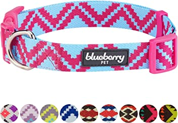 Blueberry Pet Soft & Comfortable Vintage Tribal Pattern Adjustable Dog Collar, 10 Colors, Matching Leash & Harness Available Separately