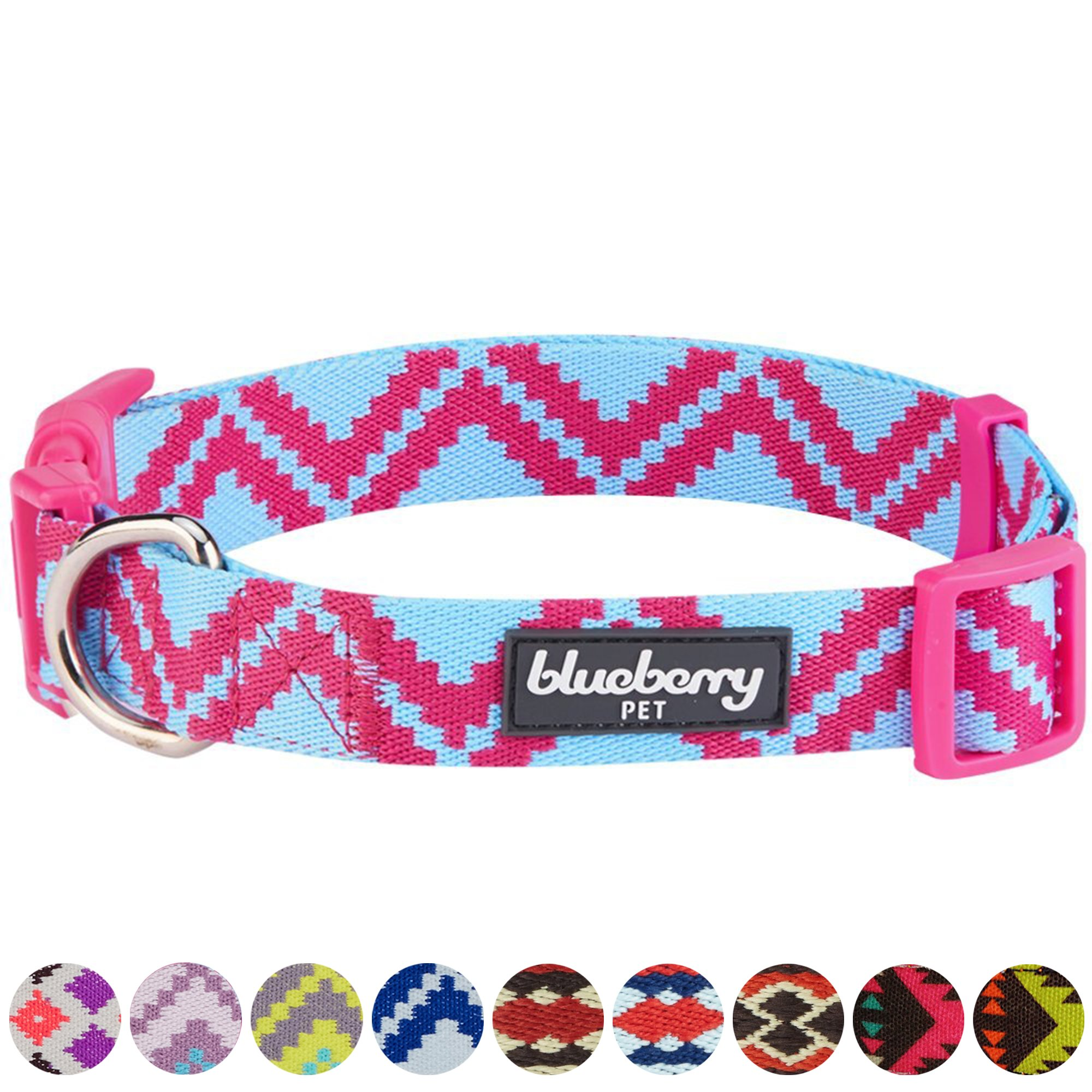 Blueberry Pet 10 Colors Tribal Pattern Inspired Stunning Zigzag Dog Collar, Cerise Pink, Large, Neck 18''-26'', Adjustable Collars for Dogs