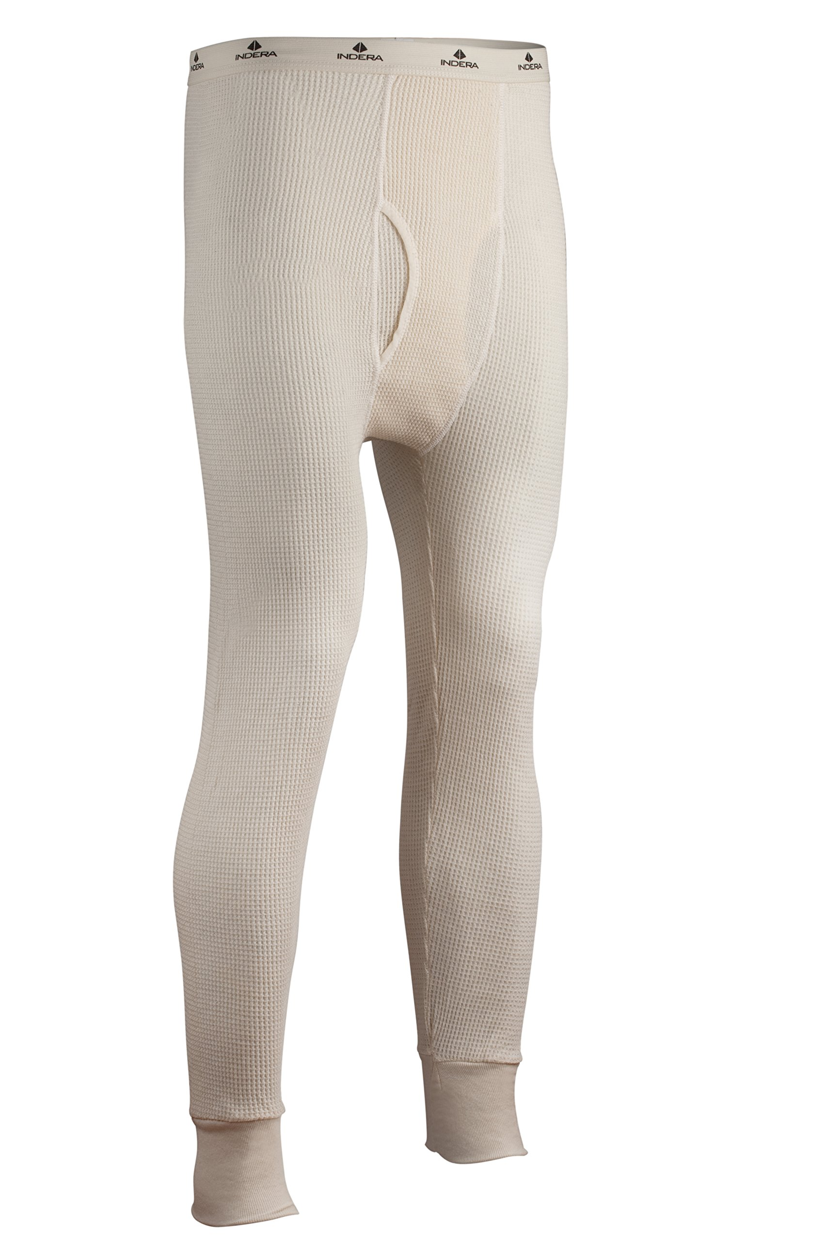 Indera Men's Tall Cotton Heavyweight Thermal Underwear Pant, Natural, Large