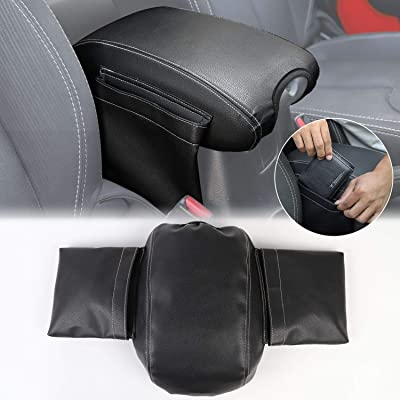 for JK Center Console Cover Armrest Pad Cover with Storage Bag Pockets for 2011-2020 Jeep Wrangler JK JKU Sahara Sport Rubicon X & Unlimited: Automotive