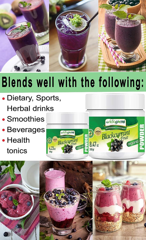 Polvo de fruta de grosella negra orgánica. Pure RAW Superfood Gluten Free Non GMO para salud, repostería, belleza, cocina y suplementos dietéticos.