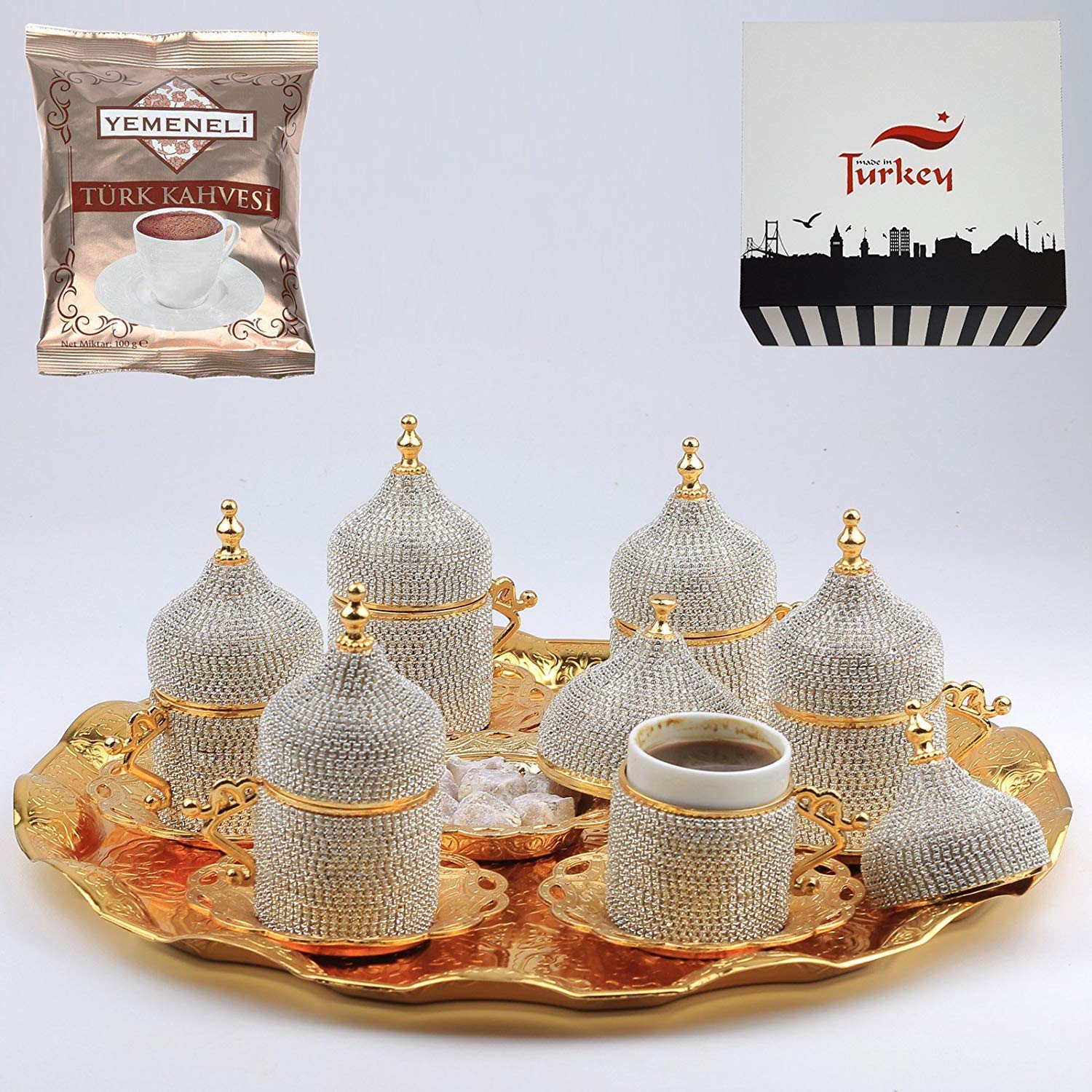 27 Pc Turkish Coffee Cup Set Saucers Holders Spoons Decorated with Swarovski Silver