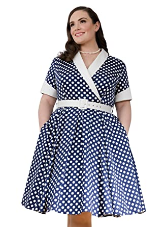 b8ec6e8b308 Emily London Womens Plus Size Jasmine Retro Rockabilly Polka Dress Cream    Black at Amazon Women s Clothing store