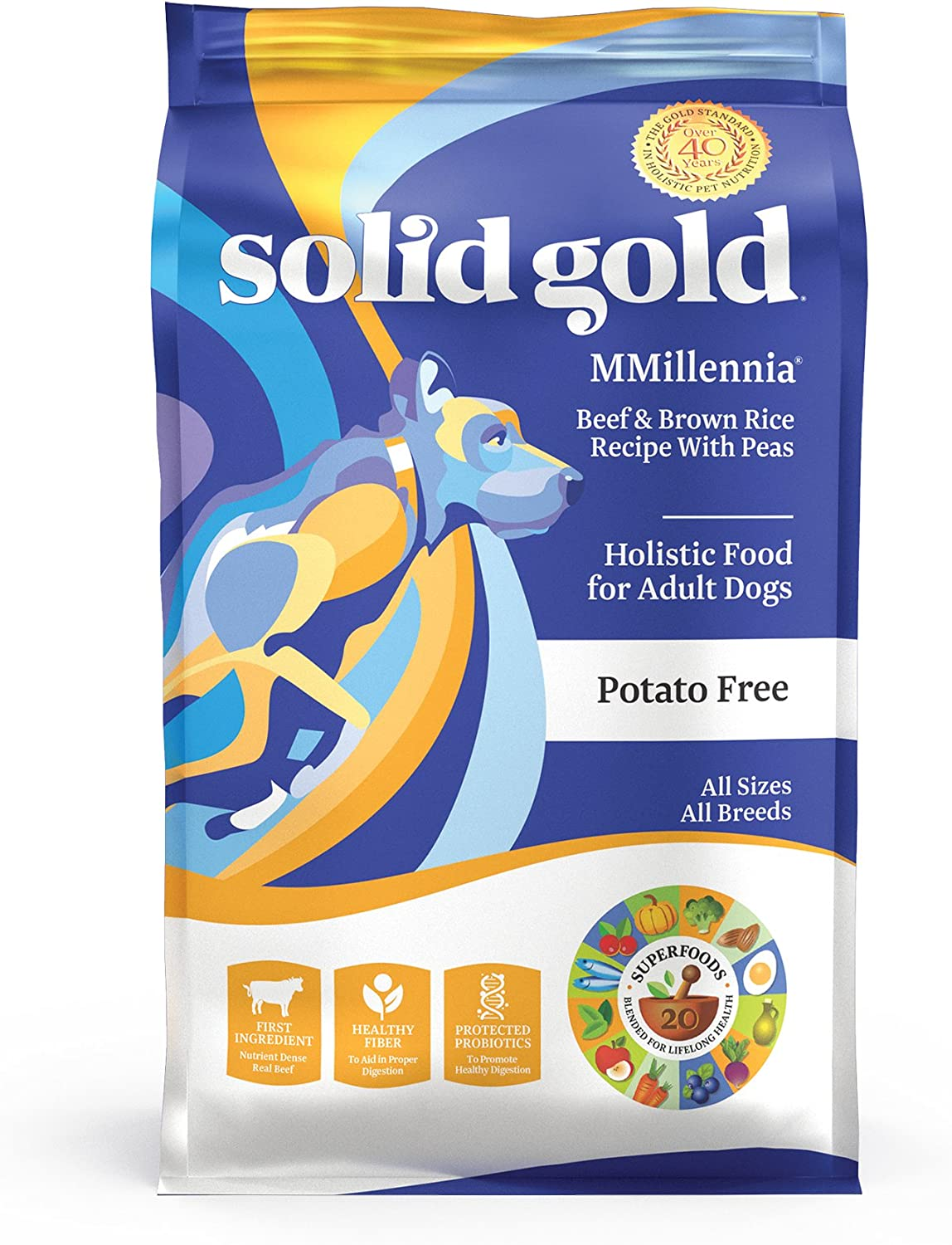 Solid Gold – Mmillennia With Natural Beef, Brown Rice Peas – Grain-Free – Fiber Rich- Probiotic Support – Dry Dog Food For Sensitive Stomachs