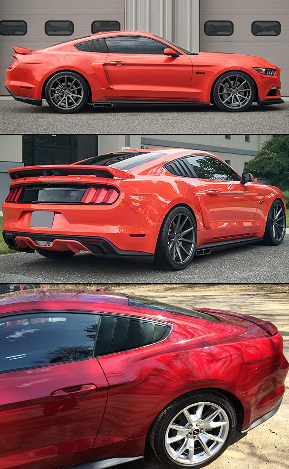 Cuztom Tuning Fit for 2015-2018 Ford Mustang GT Ecoboost Premium GT350 Painted Glossy Black 1//4 Quarter Window Louver Side Vent Scoop