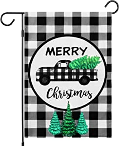 Merry Christmas Garden Flag Buffalo Plaid Check Double Sided 12 x 18 Inch Christmas Lawn Flag Vintage Tree Truck Flag Outside for Winter New Year Xmas Yard Outdoor Decor (Black and White)