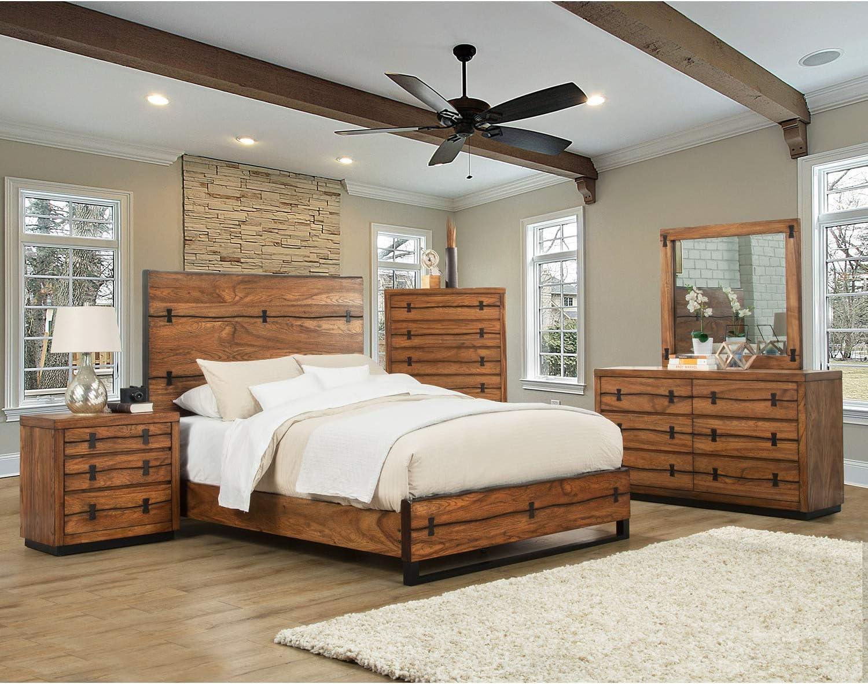 Alpine Furniture Panel Bed, Queen, Tobacco