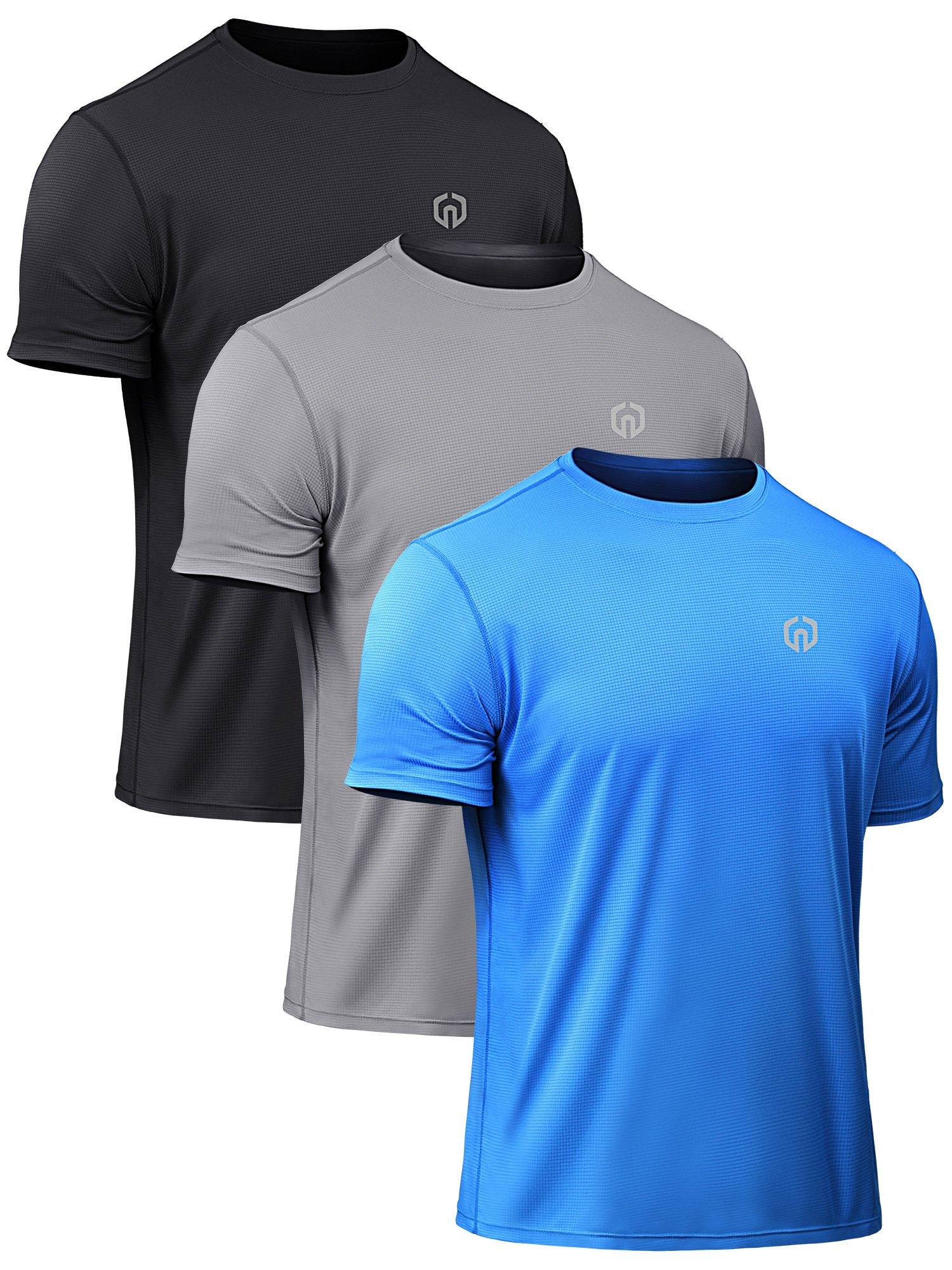 Neleus Men's Mesh Running Sports Workout Shirts,5052,3 Pack,Black,Grey,Blue,L,EU XL