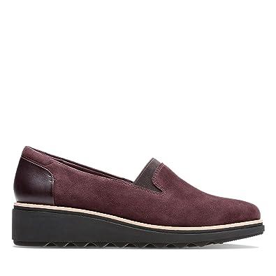 6868d0c02a3 Clarks Women s Loafer Flats Aubergine 3 UK  Amazon.co.uk  Shoes   Bags