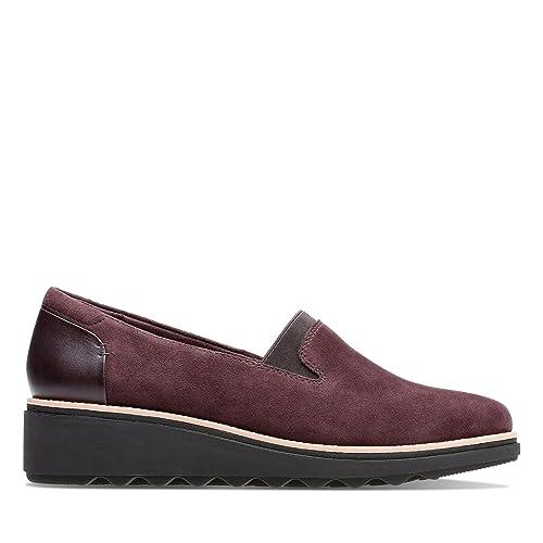 Clarks - Mocasines de Cuero para Mujer Berenjena 35.5 EU: Amazon.es: Zapatos y complementos