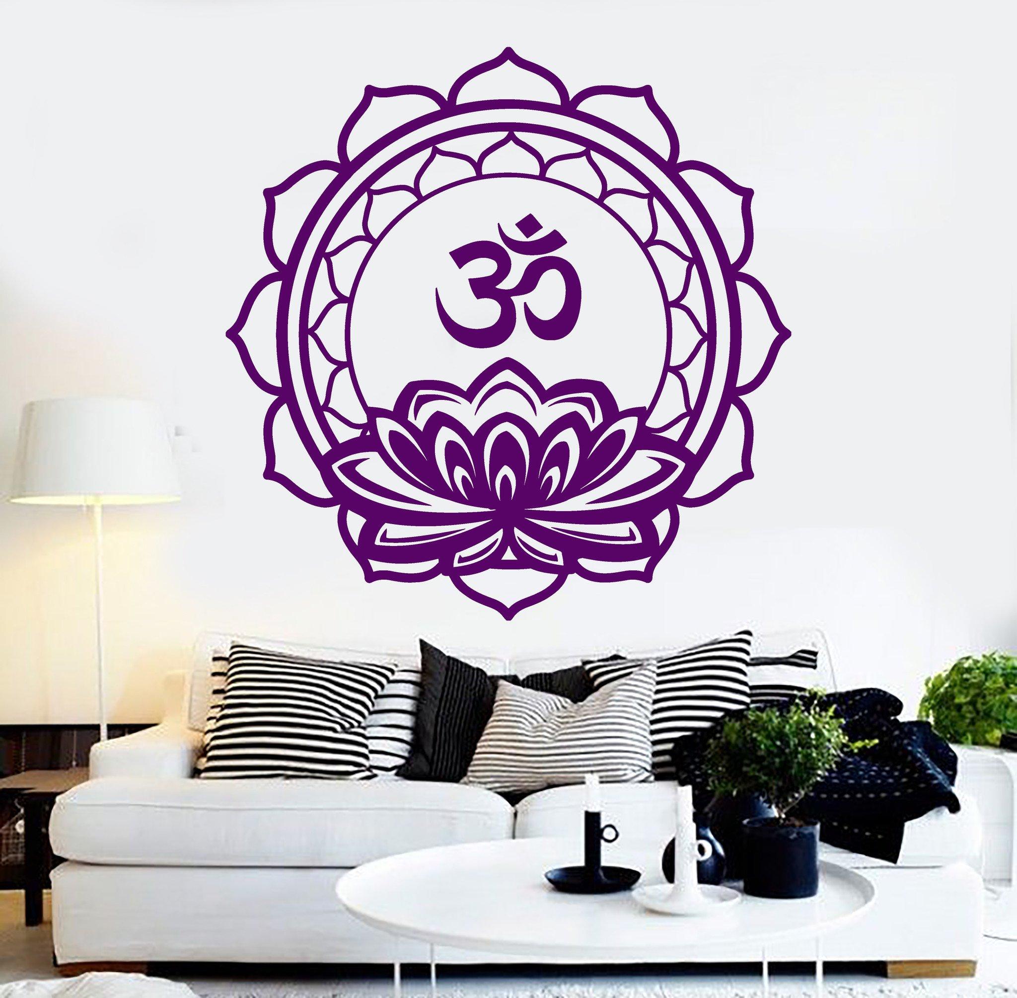 Large Vinyl Wall Decal Lotus Om Mantra Meditation Mandala Hinduism Stickers (241ig) Purple