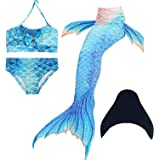 ESSL Tech Baby Girls Sparkle Mermaid Tails Swimsuit Swimmable Costume Bikini Sets Mermaid Tail Swimwear With Monofin