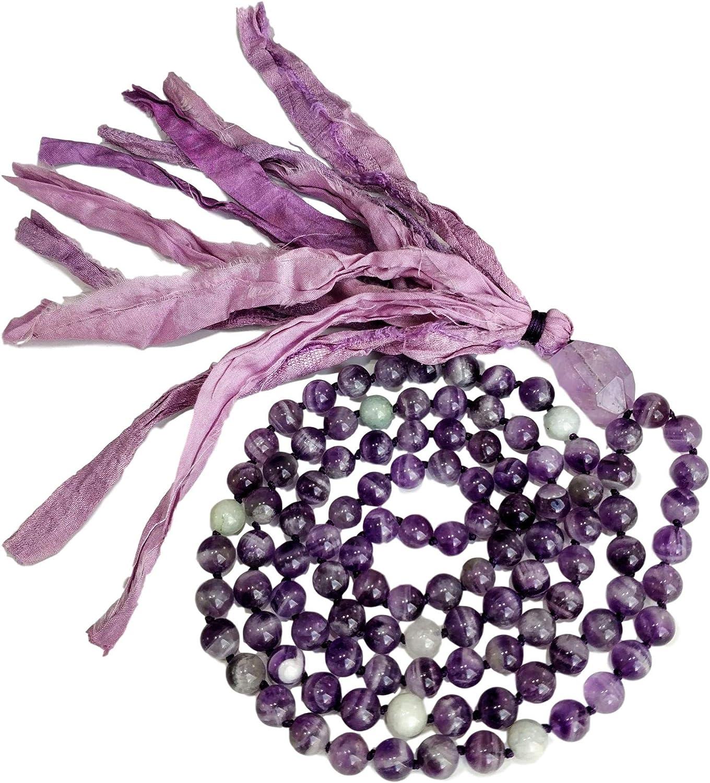 Live Radiantly 108 Mala Bead Necklace - 8mm Amethyst Aquamarine Stones - Amethyst Guru Bead - Sari Silk Tassel - Meditation, Mindfulness, Yoga - Mala ...