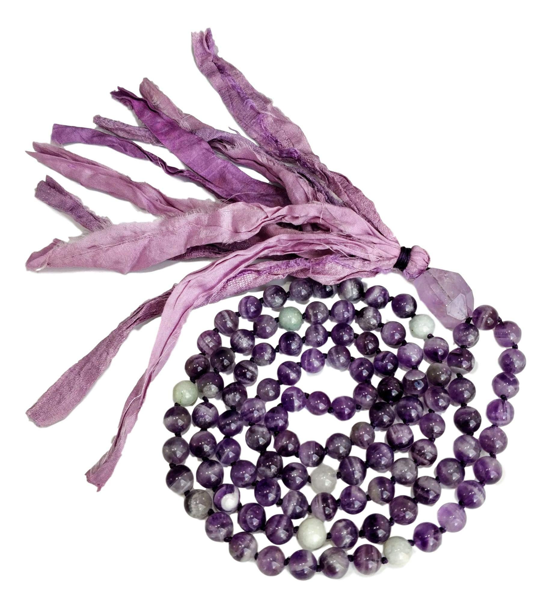 Live Radiantly 108 Mala Bead Necklace - 8mm Amethyst Aquamarine Stones - Amethyst Guru Bead - Sari Silk Tassel - Meditation, Mindfulness, Yoga - Mala to Foster Protection, Peace and Abundance