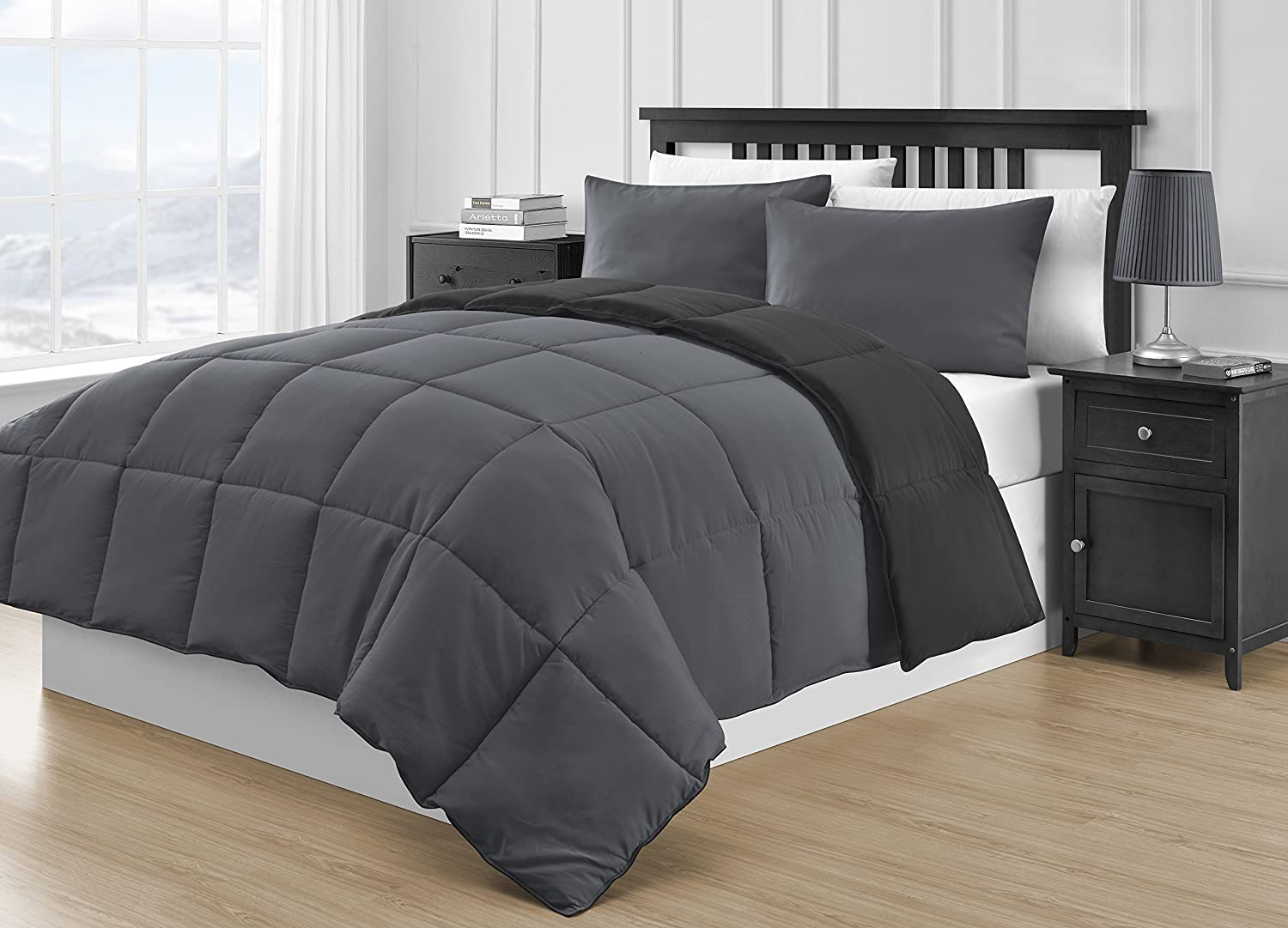 P&R Bedding Reversible Microfiber Black & Gray 3-Piece Comforter Set