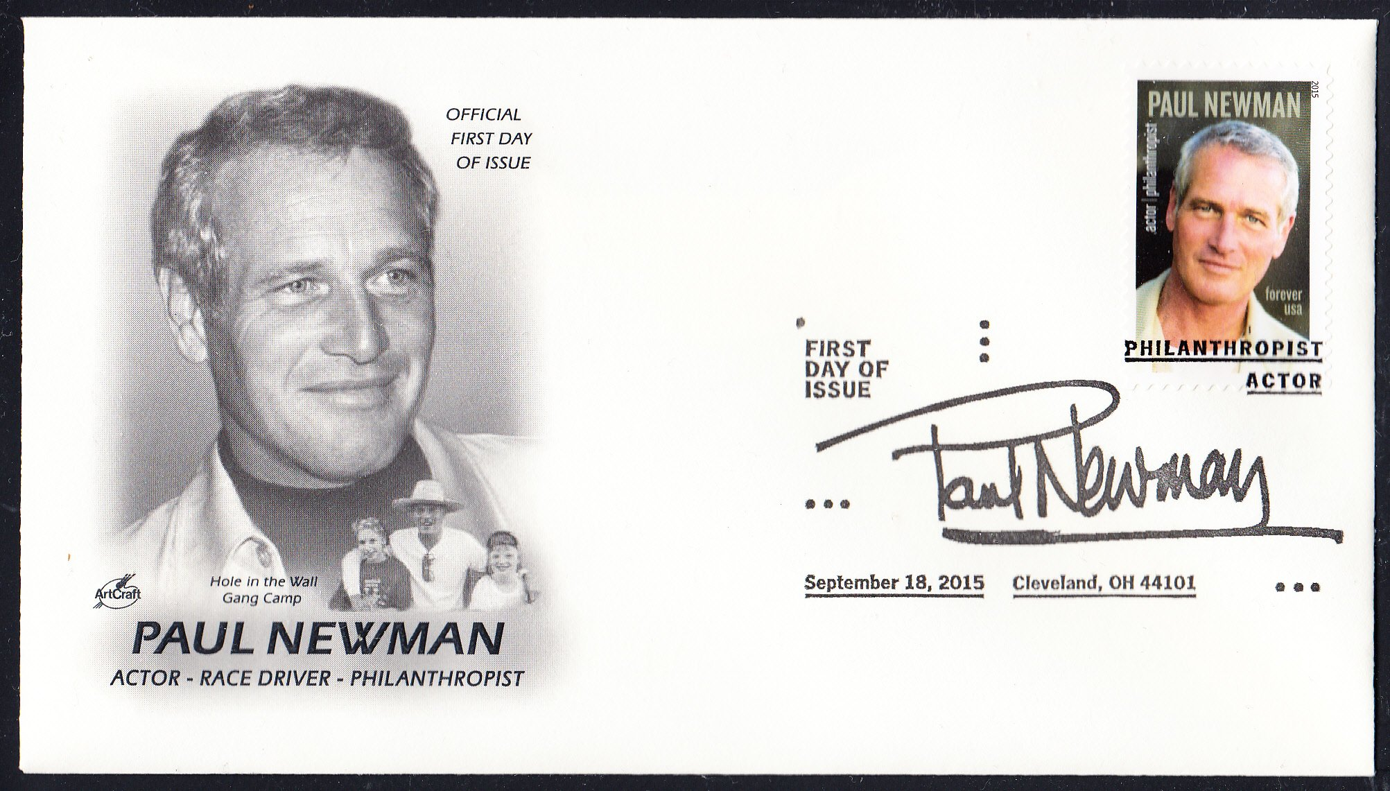 Paul Newman USPS Forever Stamp ArtCraft Collectible First Day Cover