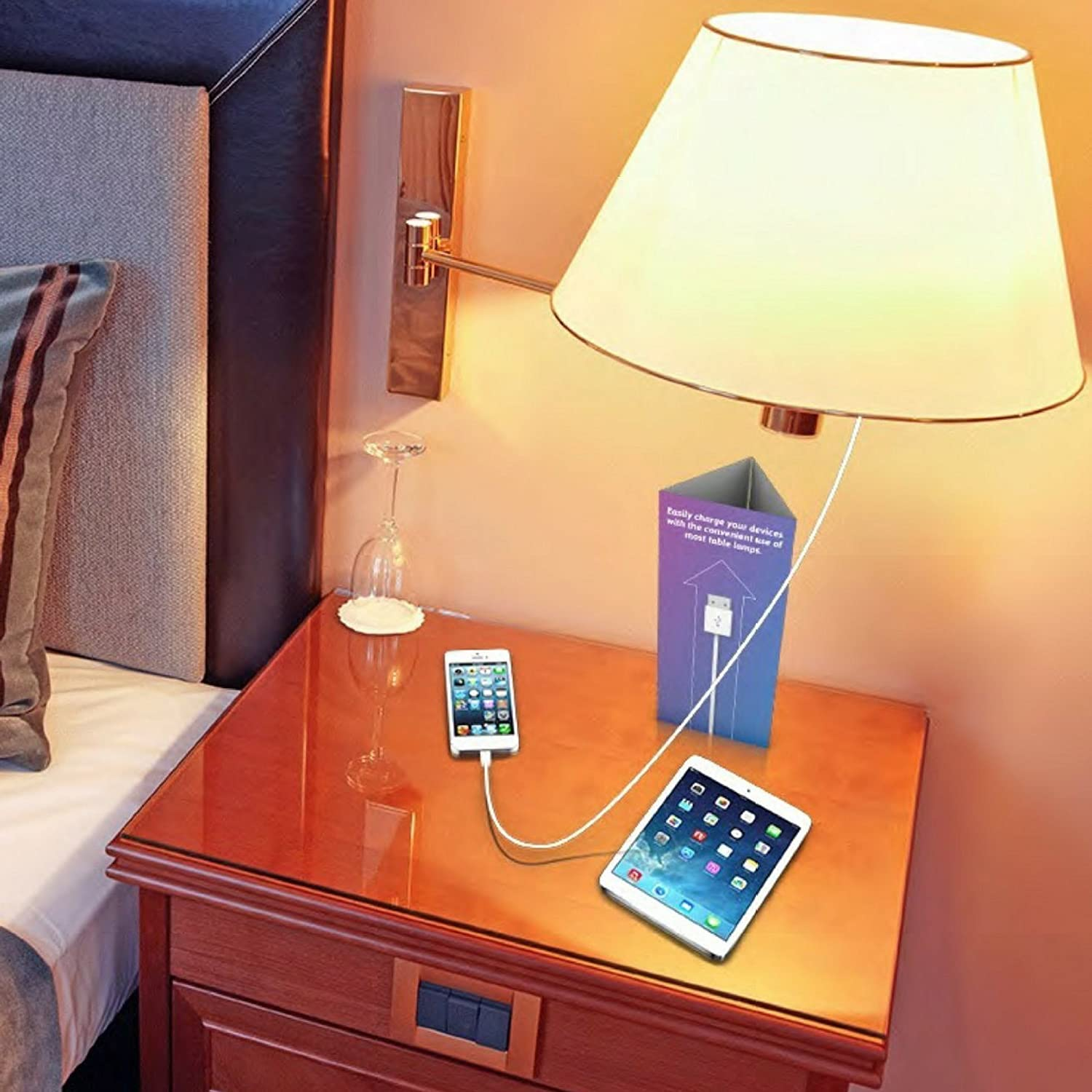 Usb Light Bulb Lampcharger Lamp Adapter And Rechargeable Feed Via The Switch Two Lights How To Wire A Base For Iphone Cell Phones Security Cameras Tablets Ipads 60w Max