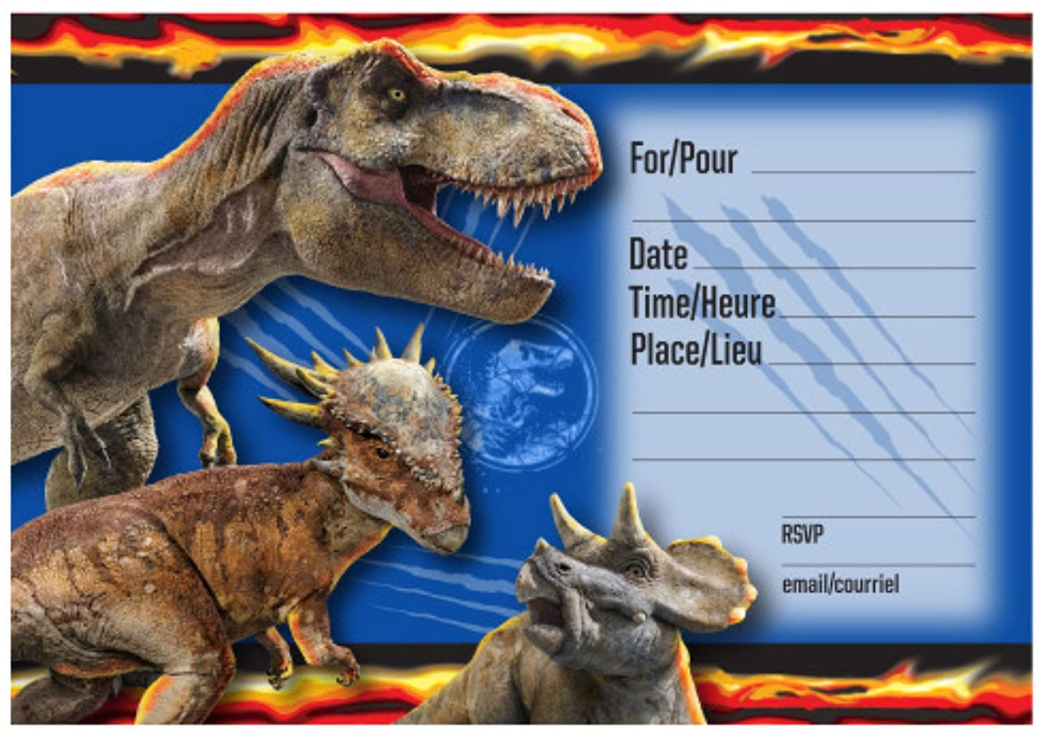 16ct and Invitations Birthday Party Bundle Multiple Jurassic World Tablecover 2ct