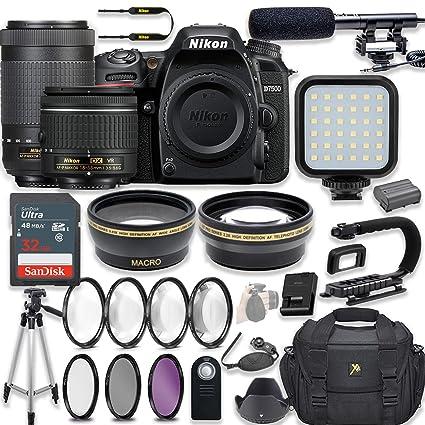 Nikon D7500 20 9 MP DSLR Camera Video Kit with AF-P 18-55mm VR Lens & AF-P  70-300mm ED VR Lens + LED Light + 32GB Memory + Filters + Macros + Deluxe