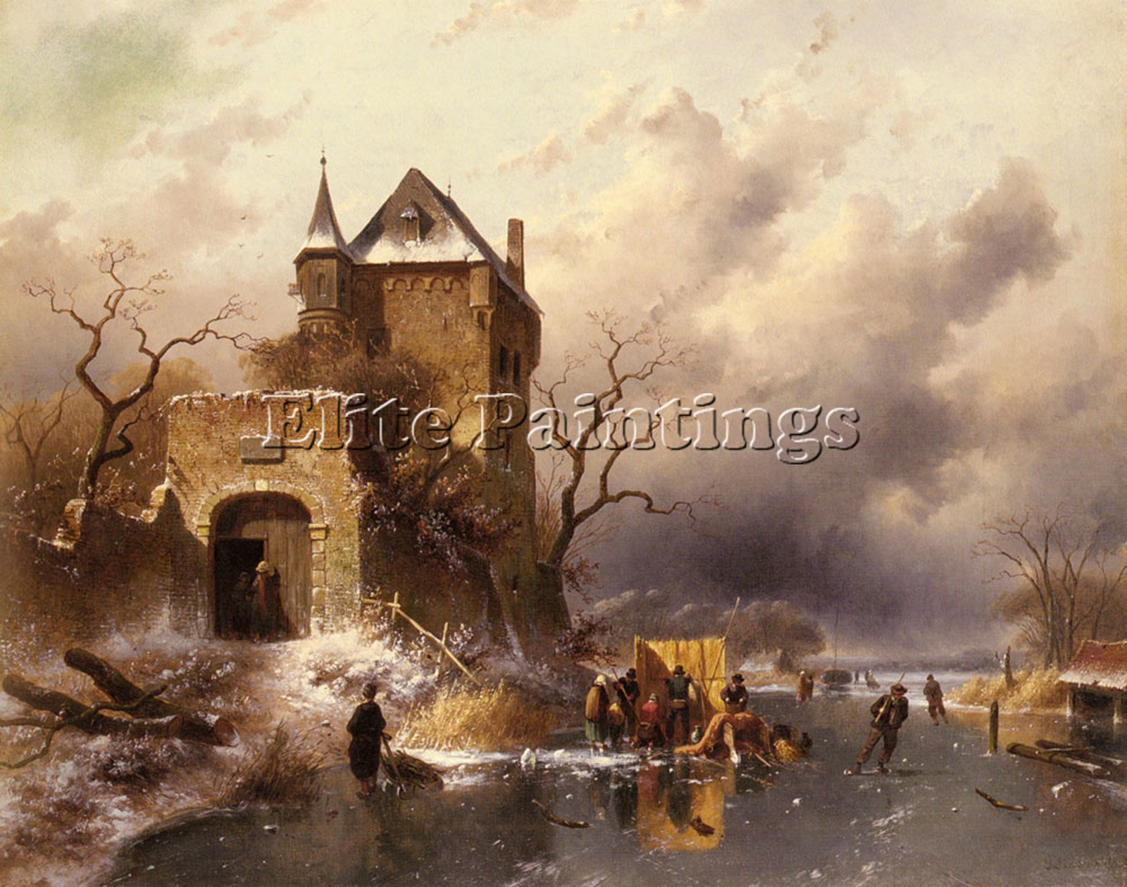 LEICKERT CHARLES SKATERS FROZEN LAKE RUINS CASTLE ARTIST PAINTING OIL CANVAS ART 40x48inch MUSEUM QUALITY