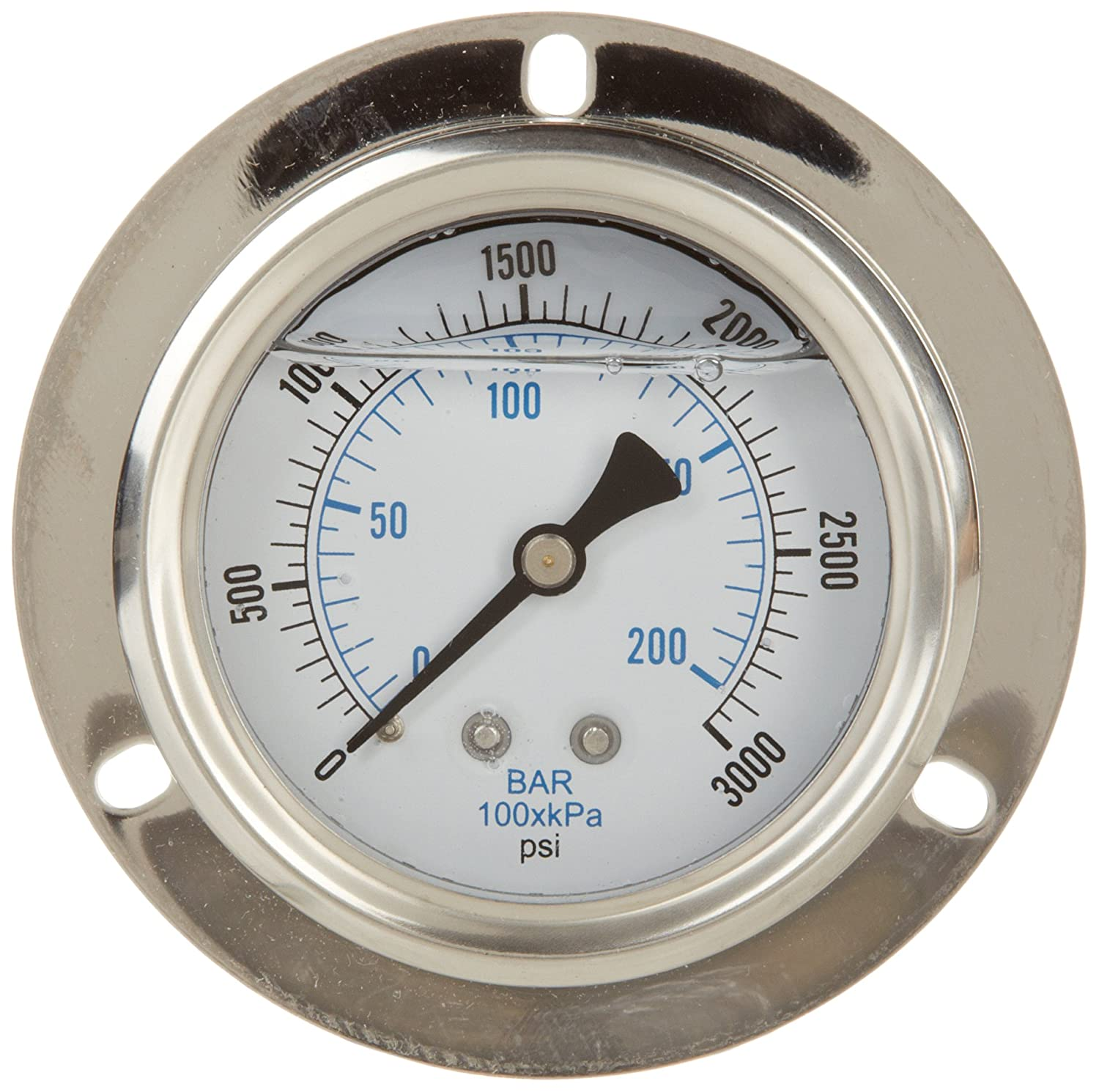 PIC Gauge PRO 204L 254P Glycerin Filled Industrial Front Flanged Panel Mount Pressure Gauge with Stainless Steel Case Brass Internals Plastic Lens 2 1 2 Dial Size 1 4 Male NPT 0 3000 psi