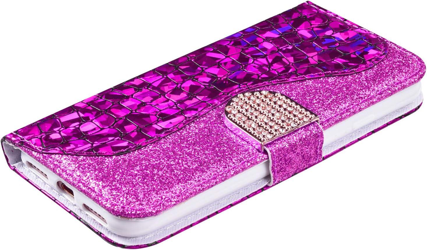 MoreChioce Coque iPhone 8,compatible avec Coque iPhone 7 Cuir Clapet,Pourpre Bling Diamond Housse /à Rabat Antichoc Portefeuille /Étui de Protection Magn/étique Aimant/ée Supporter