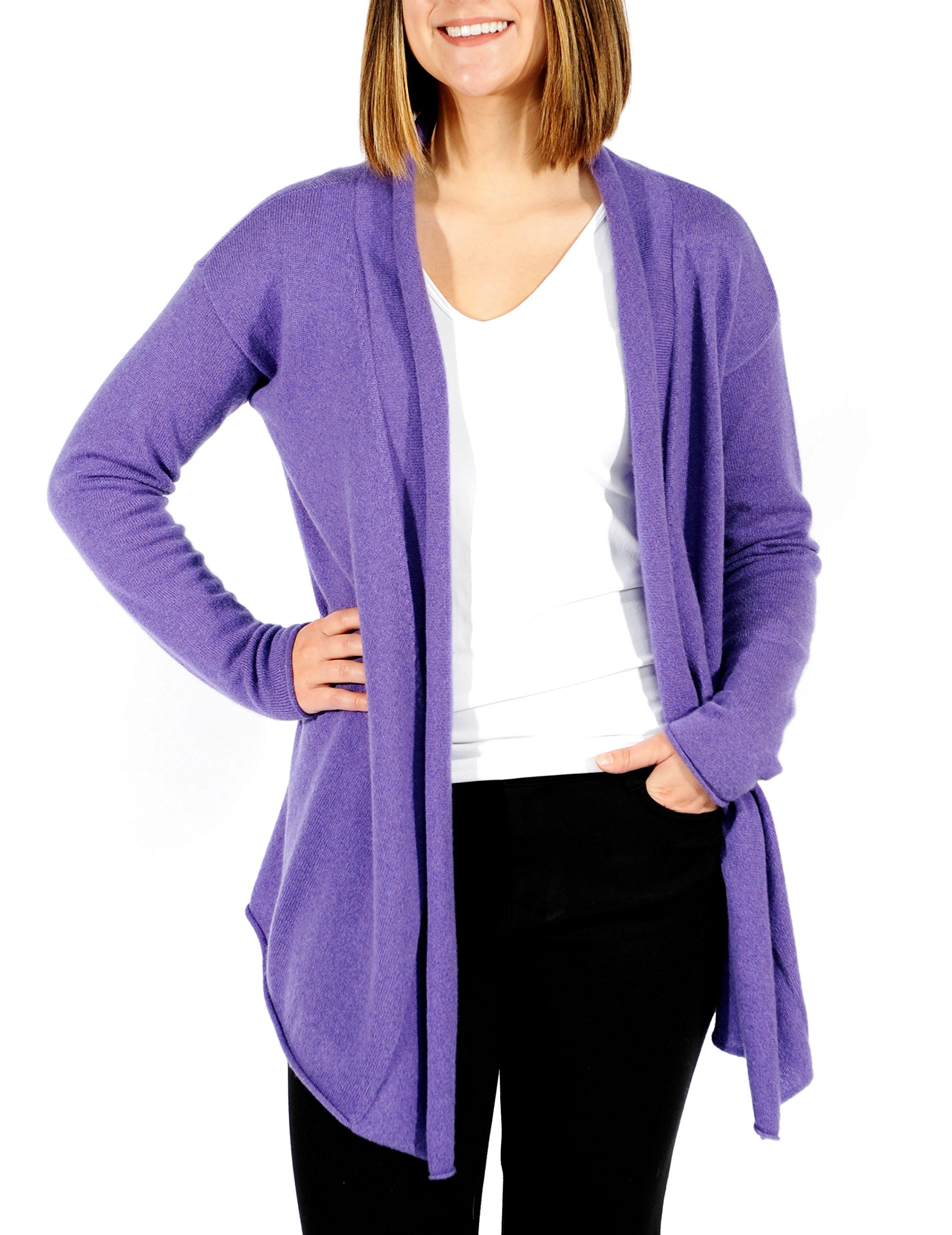 Gigi Reaume 100% Cashmere Womens Sweater, Open Front Cardigan, Shawl Collar Swing Style (Large, Amethyst) by Gigi Reaume