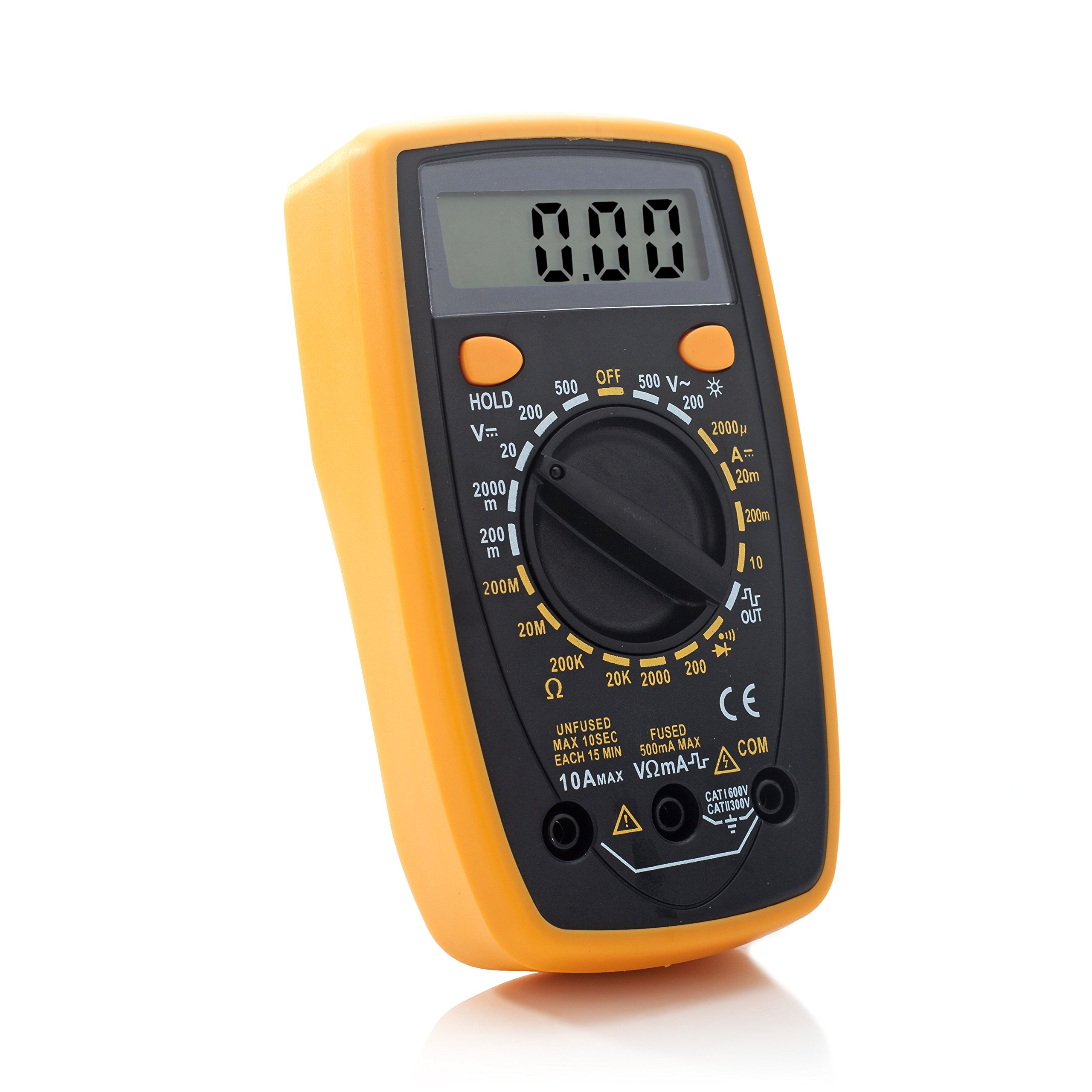 Liger Digital Multimeter, AC/DC, Current, Voltage, Resistance Digital Meter/Tester with Ohm Volt Amp & Diode Test, for Household Outlets, Fuses, Vehicle Battery, Charging System, Automotive Circuits