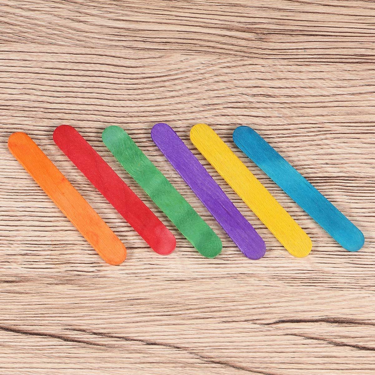 SUPVOX 50pcs Holz-Handwerk-Sticks Kinder Kinder DIY handgemachte Herstellung Zeichenmaterial bunt