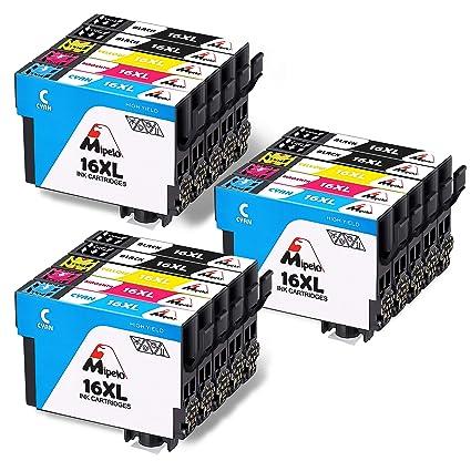 Mipelo Compatible para Epson 16 16XL, 15 Paquete Alta Capacidad Cartuchos de tinta con Epson Workforce WF-2630 WF-2750 WF-2540 WF-2530 WF-2510 WF-2520 ...