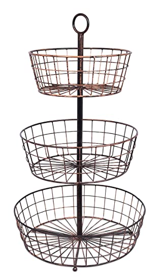 BirdRock Home 3 Tier Wire Fruit Basket | Round Metal Standing Baskets | Fruit  Vegetable Garlic