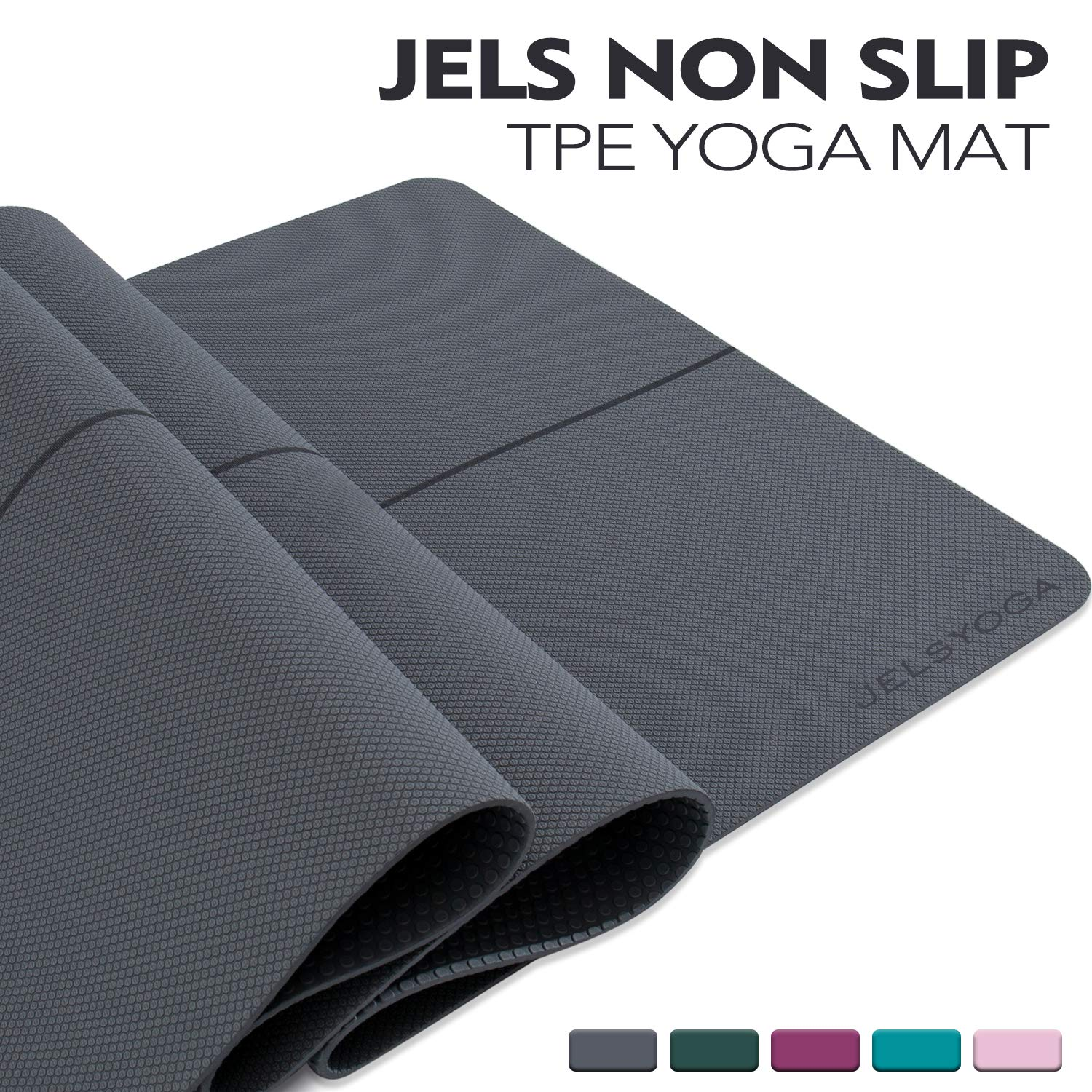 TENOL JELS Yoga Mat Non Slip,Eco Friendly SGS Certified TPE Yoga Mat,Extra Thick 1/4