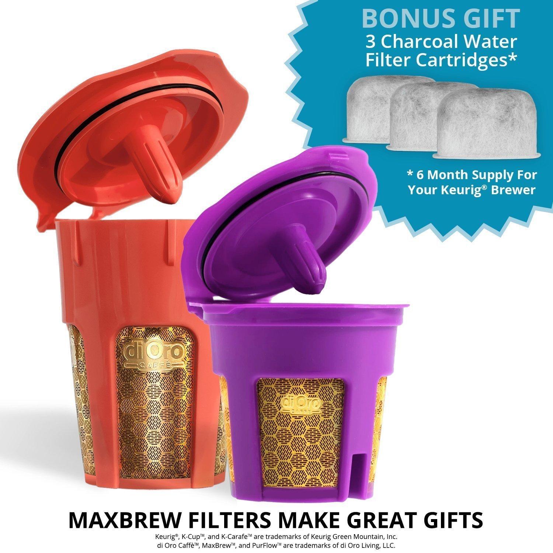 DI ORO - MaxBrew 24K Gold Keurig Accessories (1) Single K-Cup Reusable (1) K-Carafe Reusable (3) Premium Water Filters for Keurig 2.0