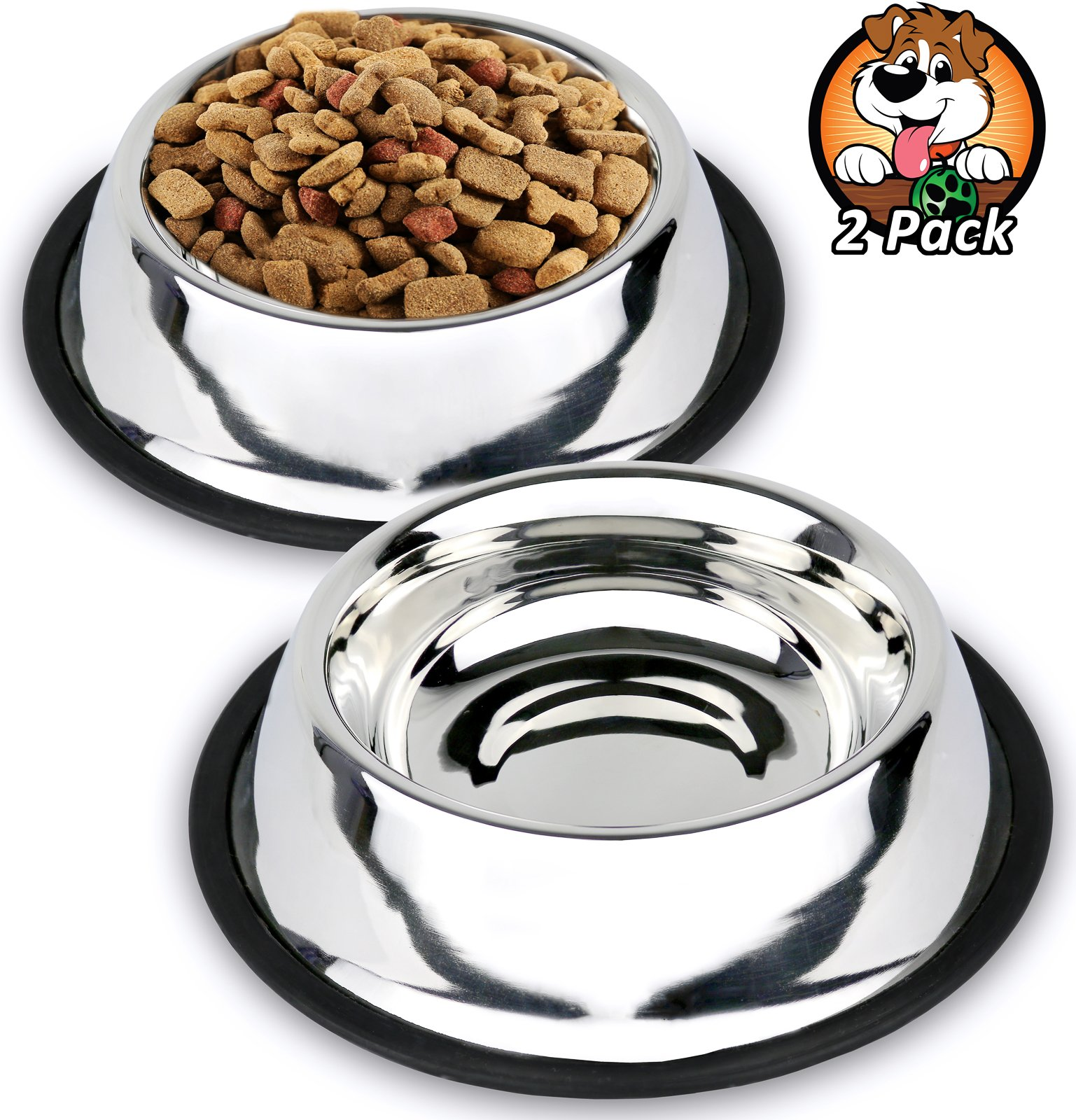 Estilo Stainless Steel Dog Bowls, 32 oz (Set of 2)