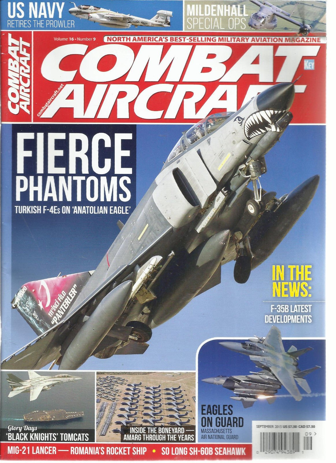 COMBAT AIRCRAFT MONTHLY, SEPTEMBER, 2015 (NORTH AMERICA'S BEST SELLING MILITARY