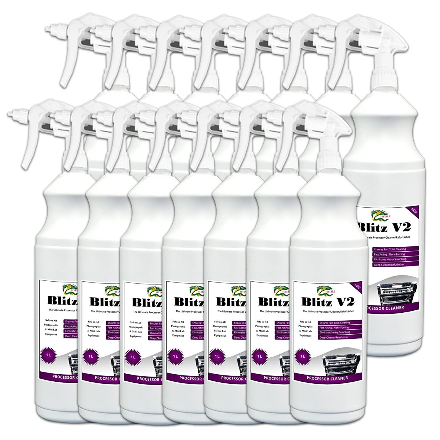 Deep Cleaner and Descaler Hydra Blitz v2 – 14 x 1l Foamingスポットクリーナーfor Badly Scaledラック、従来Film、プレートとペーパープロセッサ   B01G72GCH4