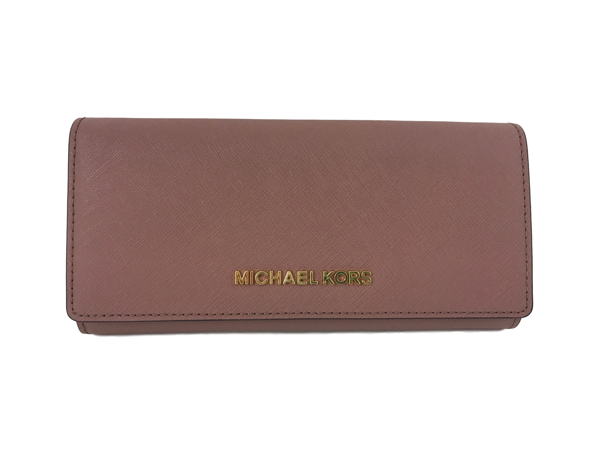 Michael Kors Jet Set travel Carryall Leather Clutch wallet in Dusty Rose