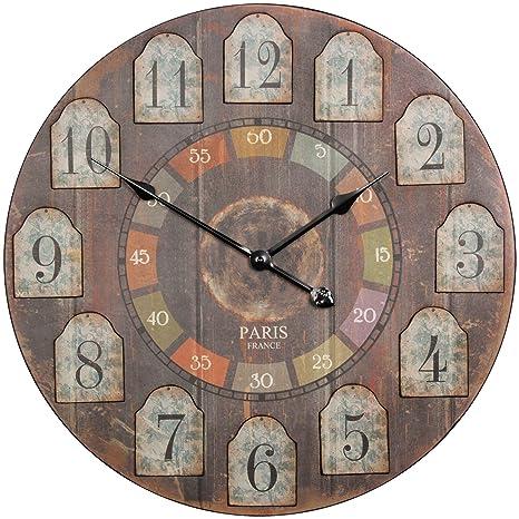 Wohnling Decoración Vintage Reloj de Pared XXL Diámetro 60 cm France Madera Grandes Reloj rústico Deko