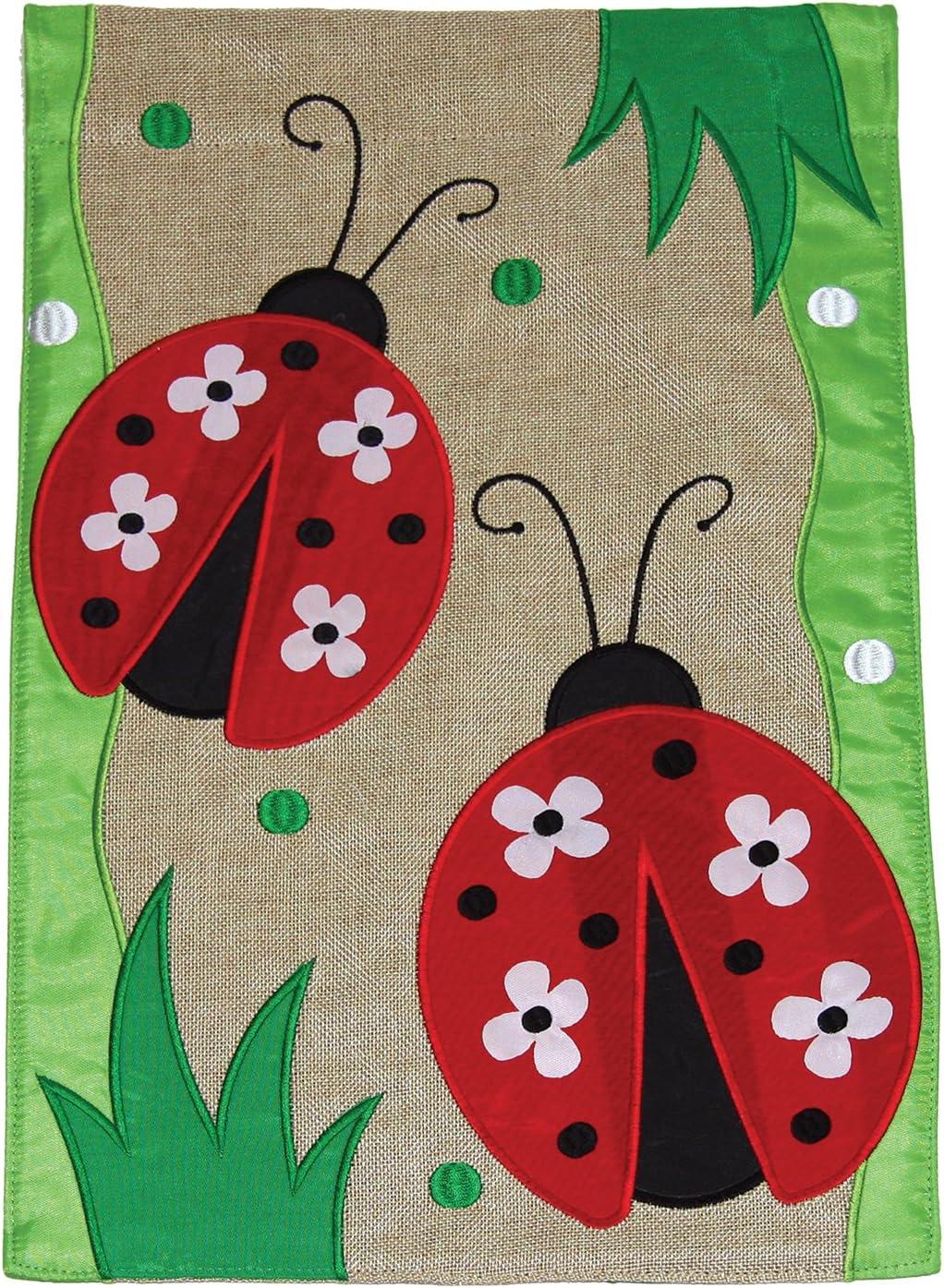 Toland Home Garden Daisy Ladies 12 x 18 Inch Decorative Cute Ladybug Flower Burlap Flag