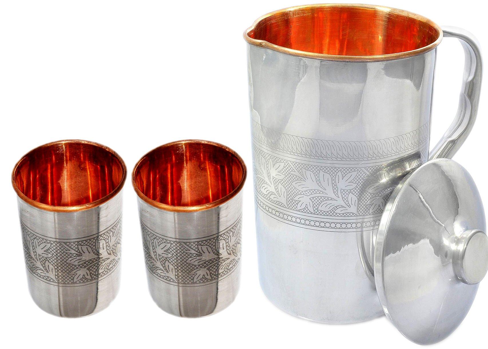 PARIJAT HANDICRAFT Outside Steel Inside Copper Water Pitcher Jug Set 2 Water Glasses Cup Tumbler Jug Capacity 54 Ounce Glass Capacity 10 Ounce Steel Copper Embossed