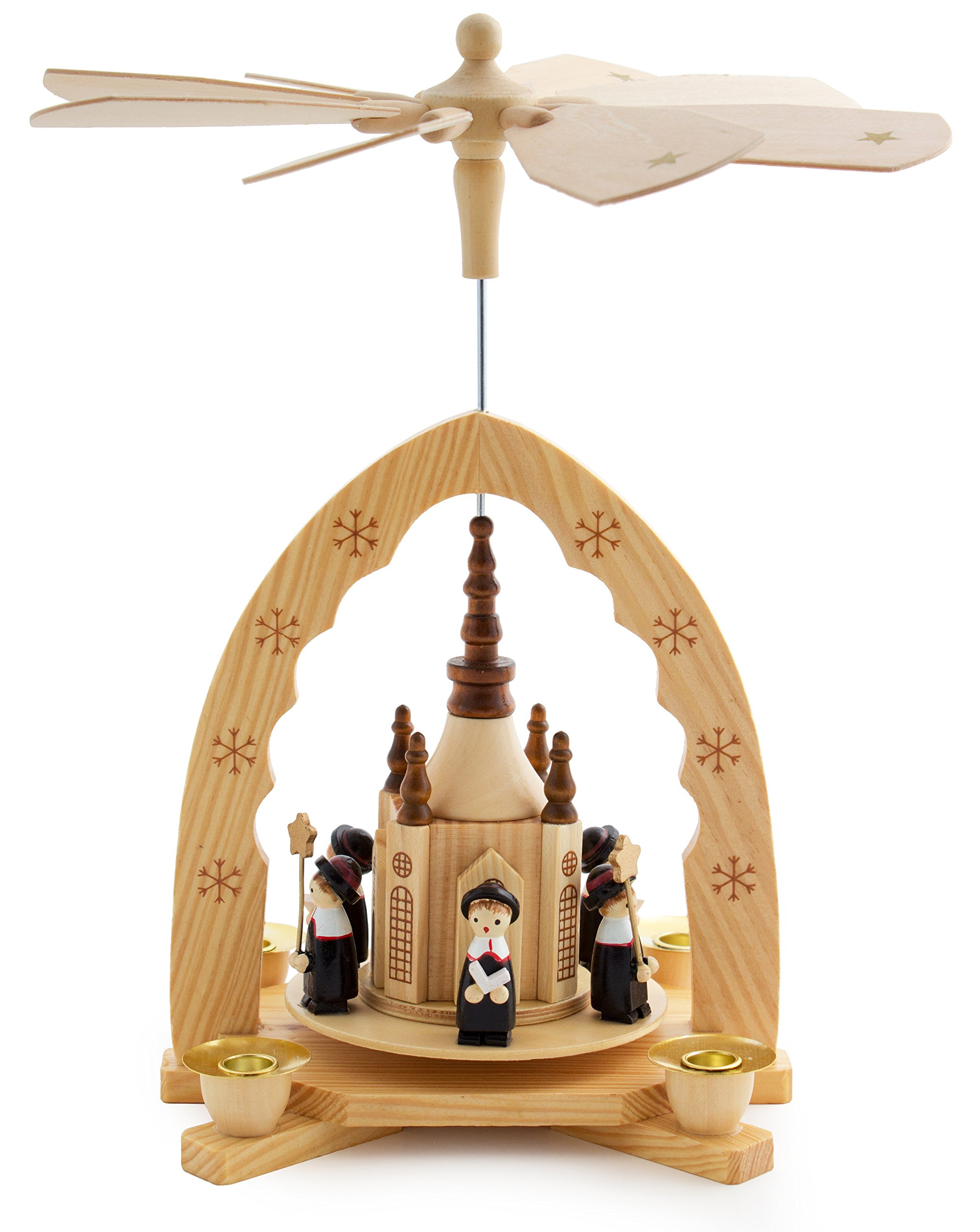 BRUBAKER Christmas Decoration Pyramid 12 Inches Nativity Play - Christmas Scene with Handpainted Figures - Limited Edition 500 Pieces Only - Including 20 Candles (Made in Germany)