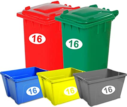 Juego de 5 cajas de reciclaje con forma de contenedor con ruedas, con números y