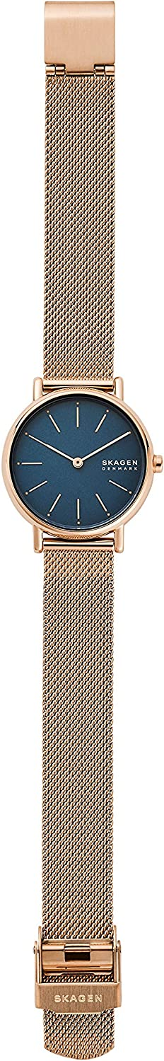 Skagen Women's Signatur Stainless Steel Quartz Watch with Leather Strap Rose Gold