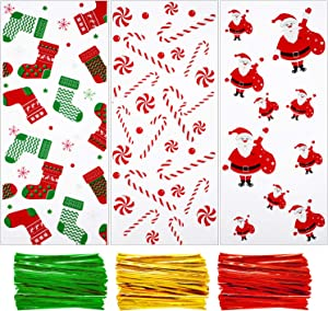 150 Pieces Clear Treat Bags Christmas Cellophane Bags with Christmas Stocking Candy Cane Santa Claus Print and 150 Pieces Twist Ties for Party Supplies, 3 Styles