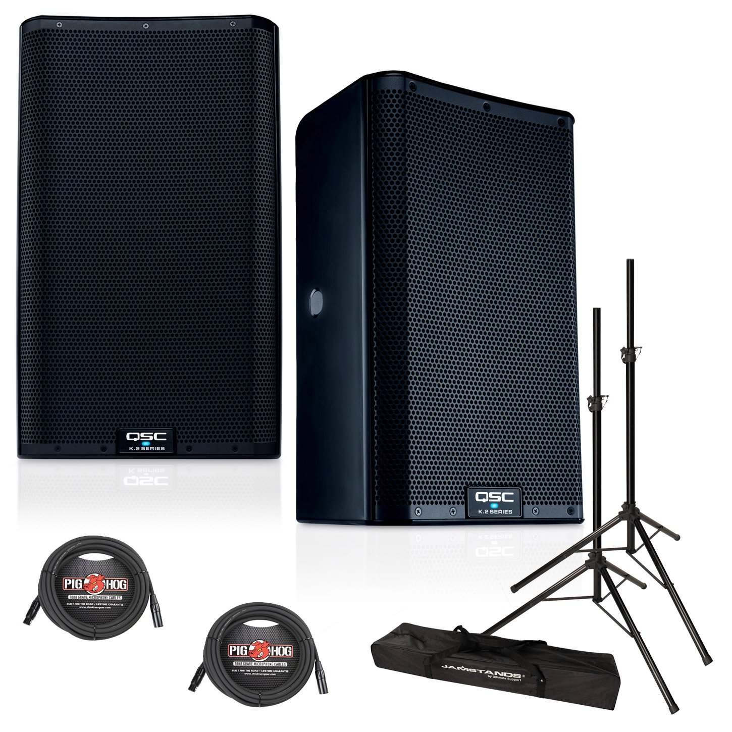 QSC K10.2 10-Inch 2000 Watt Powered PA Speakers (PAIR) w/XLR Cables & Speaker Stands by QSC